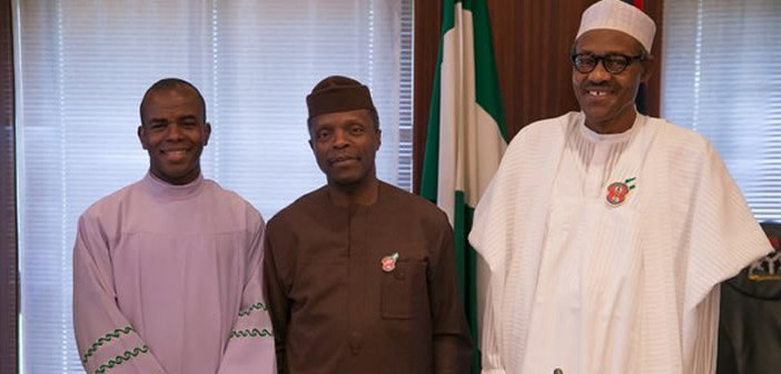 Reverend father Mbaka Meets Buhari Inside Aso Rock