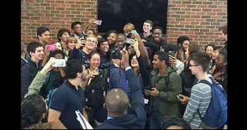 US University students scramble to take a selfie with GEJ