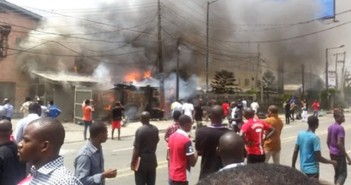 Okada Driver Siphoning Jerrycan of Fuel Sets Building on Fire in Ikoyi Lagos