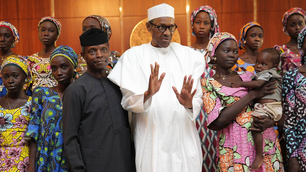 Image result for President Buhari vows to secure release of remaining Chibok Girls in captivity